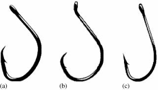 Schematic of two circle hook designs (a,b) and a conventional J-style hook (c).