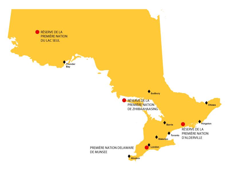 Carte de l'Ontario représentant la réserve indienne Lac Seul, la réserve indienne Zhiibaahaasing et la réserve de la Alderville First Nation et de la Munsee-Delaware Nation.