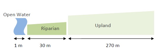 The three spatial categories using the headwater stream system width 1 metre. The 300 metre of riparian and uplands areas are present on both sides of the stream.