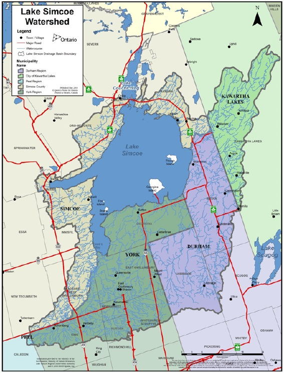 This map shows the boundaries of the Lake Simcoe watershed as defined under the Lake Simcoe Protection Act. The boundary encompasses parts of the Town of Innisfil, the Town of Bradford-West Gwillimbury, the Township of Brock, the Township of Scugog, the Township of Uxbridge, the Township of Oro-Medonte, the Town of Whitchurch-Stouffville, the Town of Aurora, the Township of King, the City of Barrie, the City of Orillia, the Township of Ramara, the Town of New Tecumseth, and the City of Kawartha Lakes as well as the whole of the Town of Newmarket, the Town of Georgina, the Town of East Gwillimbury, and all islands within Lake Simcoe.