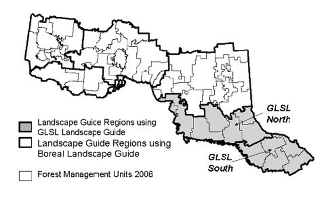 Landscape Guide Regions Map of Ontario.