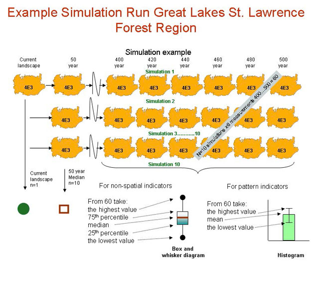 Simulation example information sheet. The Simulated Range of Natural Variation was calculated by taking measurements of landscape indicator values at 20 year intervals.