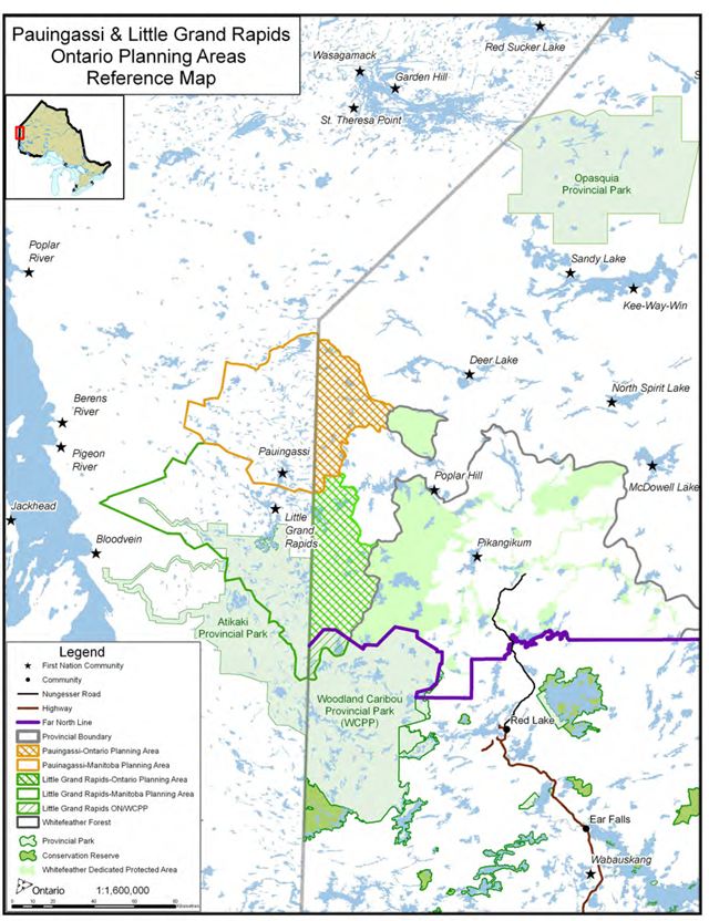 This is a colour reference map that shows the Little Grand Rapids First Nation Community Based Land Use Plan straddling the Manitoba and Ontario provincial border.  It also shows the Pauingassi First Nation planning area, directly to the north, on both sides of the provincial border, and the Pikangikum First Nation planning area, to the West, in Ontario.