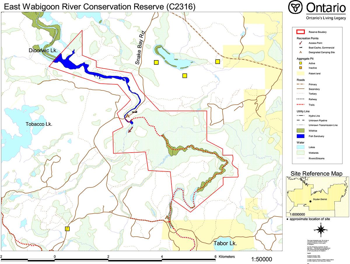 East Wabigoon River Conservation Reserve Management Statement Map Vocher 50000 Enlarge C2316 Values