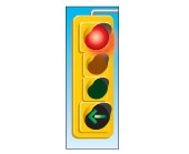 a red light with a left-turn green arrow