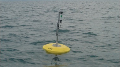 A second photo of the monitoring buoy, Land Ocean Biophysical Observatory, deployed in Lake Ontario in 2008 and 2009.
