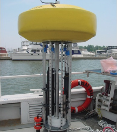 A photo of a real-time water quality monitoring buoy known as the Land Ocean Biophysical Observatory, before it was deployed in Lake Ontario in 2008 and 2009.