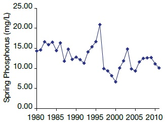 A line graph showing a decrease in whole lake, volume-weighted, spring phosphorus concentration in Lake Simcoe from 1980 to 2011.