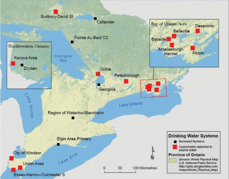 A map showing the location of drinking water source protection drinking water surveys from 2004 to 2010.