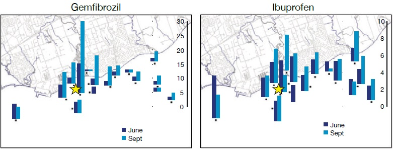 Two bar graphs showing the concentrations (nanograms per litre) of the pharmaceuticals Gemfibrozil and Ibuprofen in surface waters – estimated using Polar Organic Chemical Integrative Sampler passive samplers in June and September 2008 in a portion of the Lake Ontario nearshore zone influenced by wastewater treatment plant discharge (with a green star indicating the location), footnote reference 19.