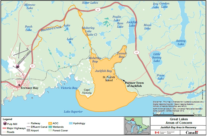 A map showing the Jackfish Bay Area of Concern.