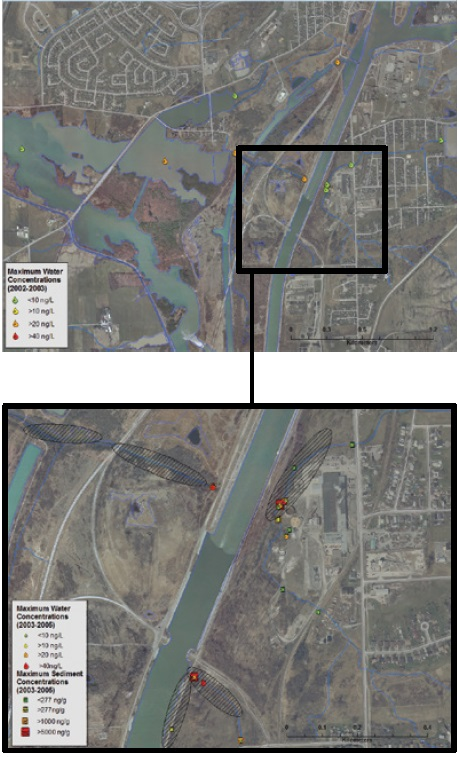 An aerial map showing the evolution of the trackdown from the watershed scale to the Lake Gibson/Beaverdams Creek scale. A second aerial map showing the evolution of the trackdown from the watershed scale to the lake Gibson/Beaverdams Creek scale.
