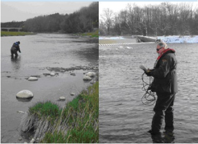 Two photos showing the collection of water samples in the Grand River under the C-EnterNet Program.