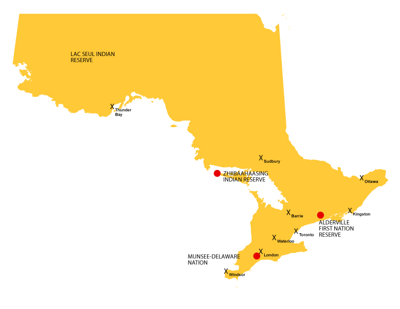 A map of Ontario showing the locations of Lac Seul Indian Reserve, Zhiibaahaasing Indian Reserve, Munsee-Delaware Nation and Alderville First Nation Reserve.