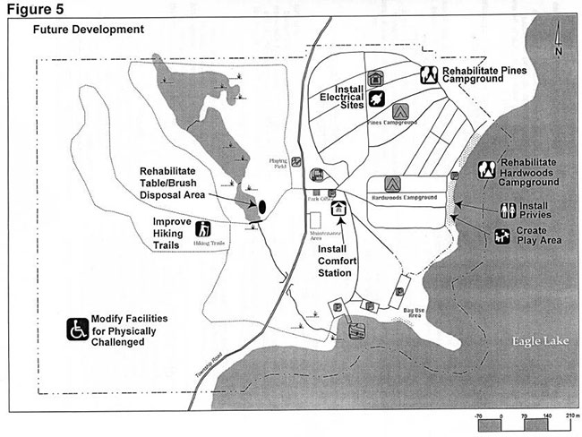 This map shows detailed information about the future development of Mikisew Provincial Park.