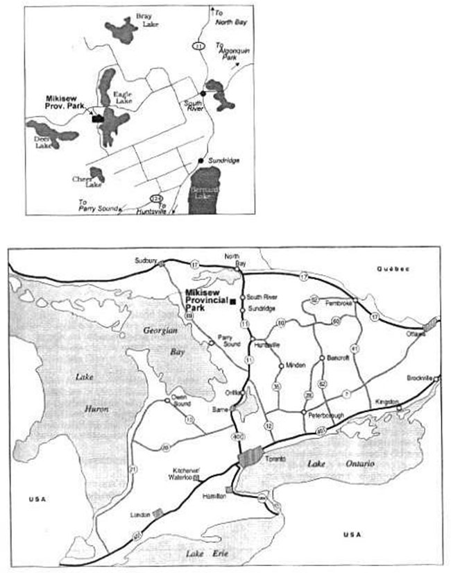 This is a small and large map depicting the regional context for Mikisew Provincial Park.