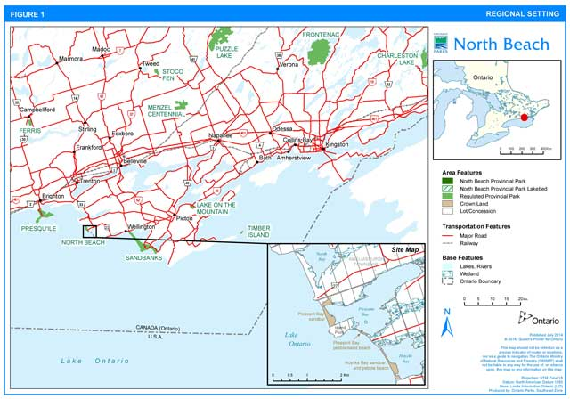 Regional setting map of North Beach Provincial Park showing land, transportation and base features.