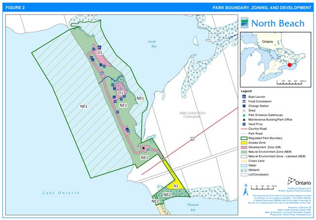 Map of North Beach Provincial Park showing park boundary, zoning areas and development areas.