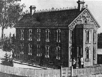 black and white photo of Samuel Wilmot's early fish hatchery near Newcastle.