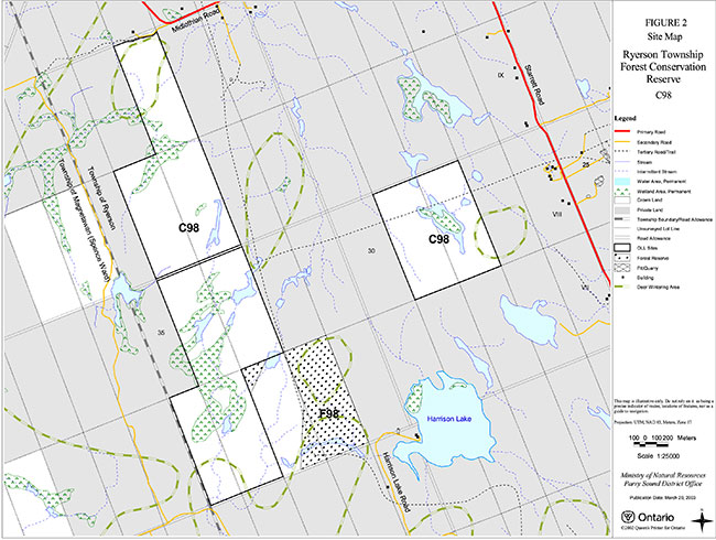 This map provides detailed information about Site Map – Ryerson Township Forest Conservation Reserve.