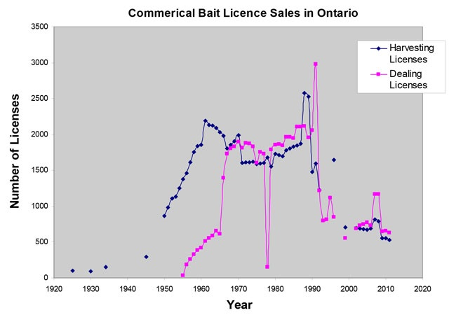 Line graph showing sales of bait harvest licences and bait dealers licences in Ontario from around 1925 to around 2010, with harvesting licences represented by blue dots connected with a line, and dealing licences represented by pink dots connected with a line.