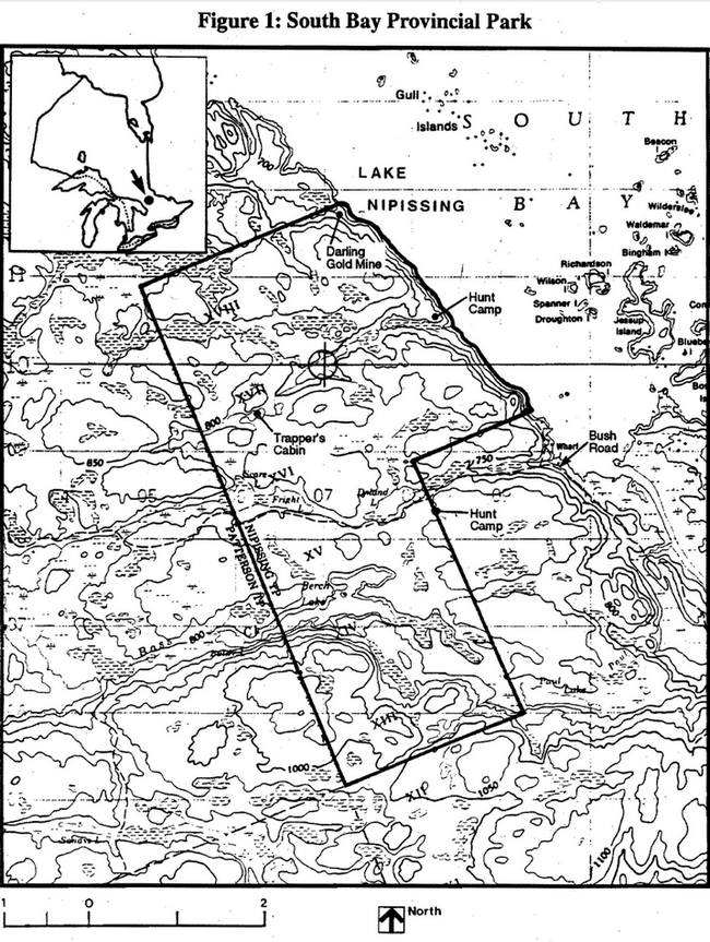 This is figure 1 map of South Bay Provincial Park