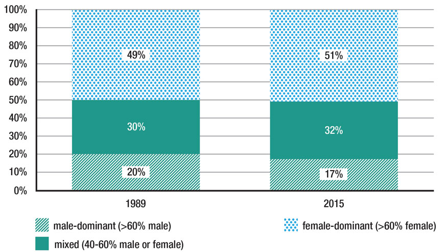 Title: Percentage of women in female-dominant, mixed and male-dominant occupations in Ontario - Description: Stacked bar graph for 1989 and 2015 shows the percentage of employed women in female-dominated, male-dominated or gender mixed occupations did not change much between 1989 and 2015.The portion of females in male-dominated occupations was 20% and 17%, respectively.
