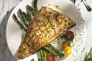 Asparagus and Trout with Parsley Sauce