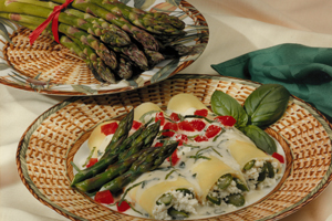 Asparagus Cannelloni with Basil Alfredo Sauce