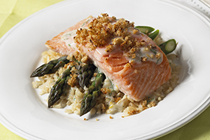 Asparagus, Salmon and Rice Bake