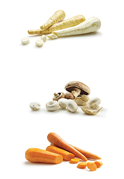 Parsnips, Mushrooms and carrots