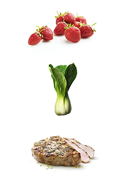 strawberries, bok choy and veal