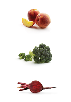This is a photo of Peaches, broccoli and beets.
