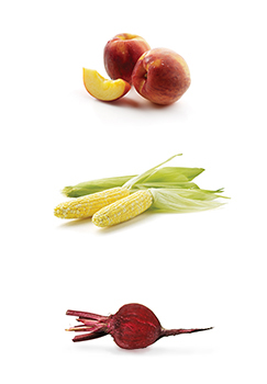 This is a photo of Peaches, corn and beets.