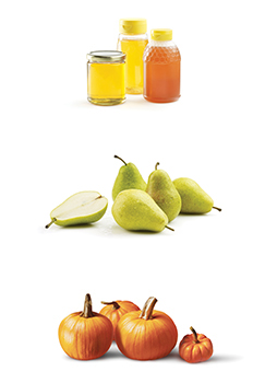 This is a photo of honey, pears and pumpkins.