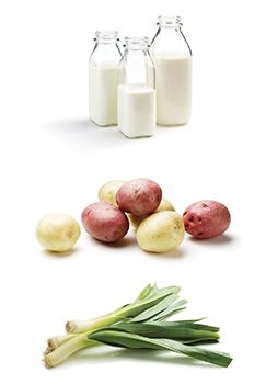 milk, potatoes and leeks