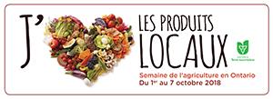Photo d'un cœur formé de fruits et de légumes et du mot «local» avec le logo d'Ontario, terre nourricière, ainsi que des dates de la Semaine de l'agriculture en Ontario, du 1er au 7octobre2018.