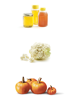 photo of honey, cauliflower and pumpkins