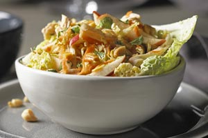 Go Gai Chicken and Cabbage Salad in a white bowl.