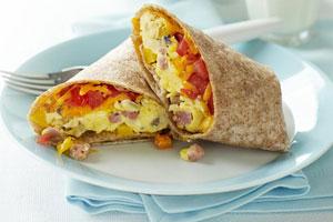 Flûtes aux œufs, jambon et fromage