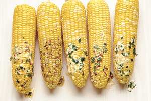Grilled Corn with International Butters