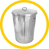 photo of a grey metal garbage bin.