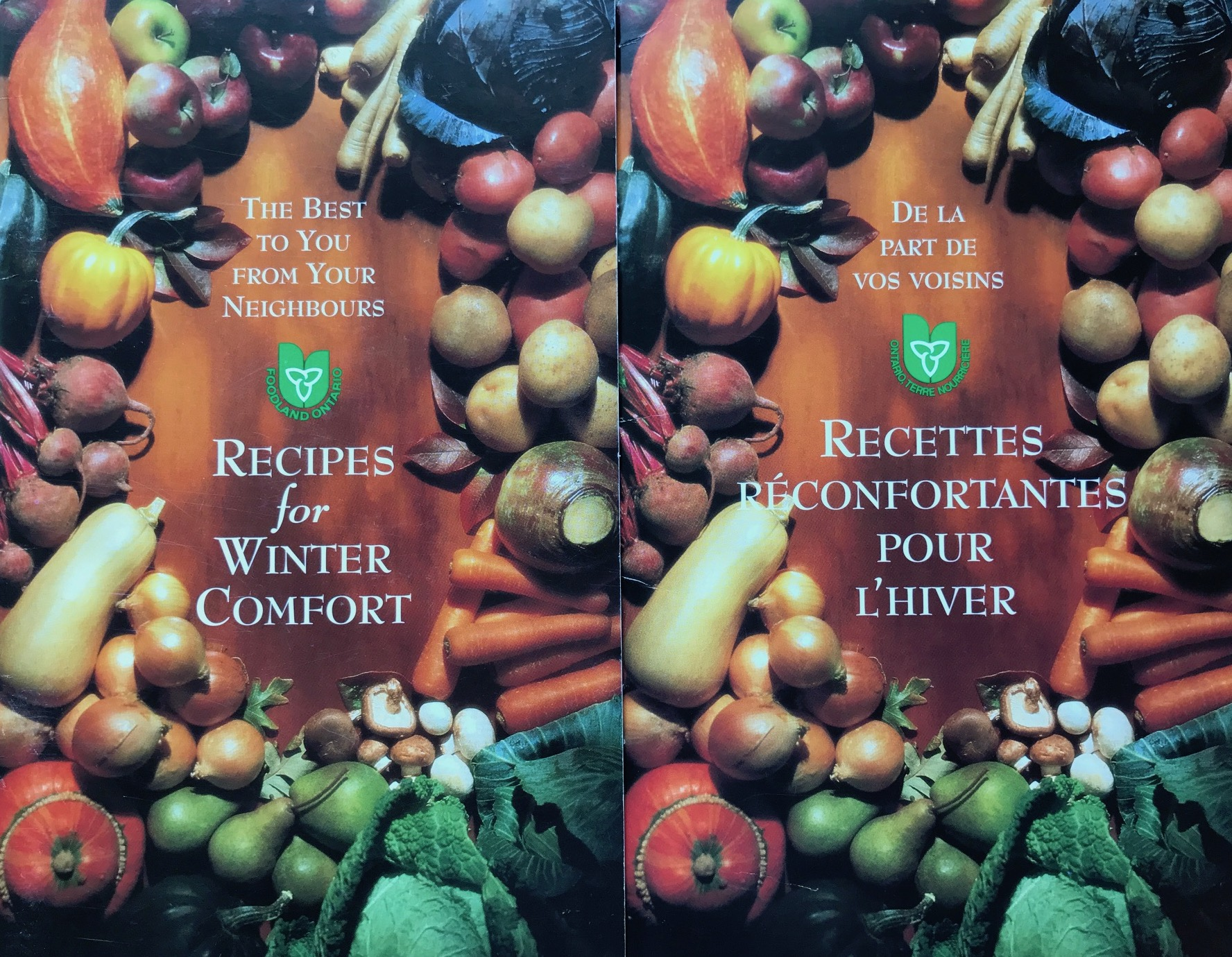 "This is a photo of Ontario's winter produce surrounding the title ""Recipes for Winter Comfort"" with the old Foodland Ontario logo."