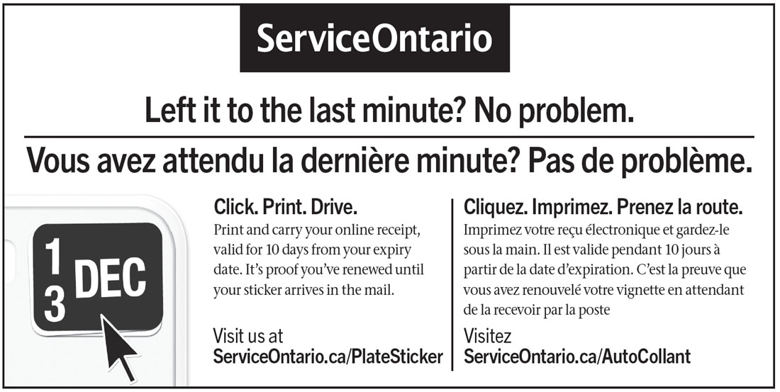 renewing ontario drivers license sticker