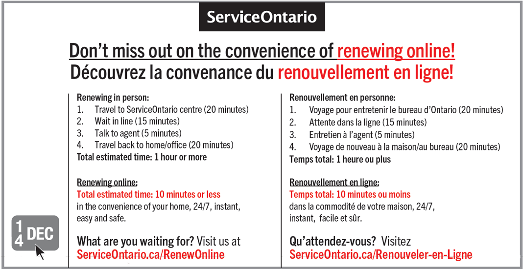 ontario drivers license renewal cost