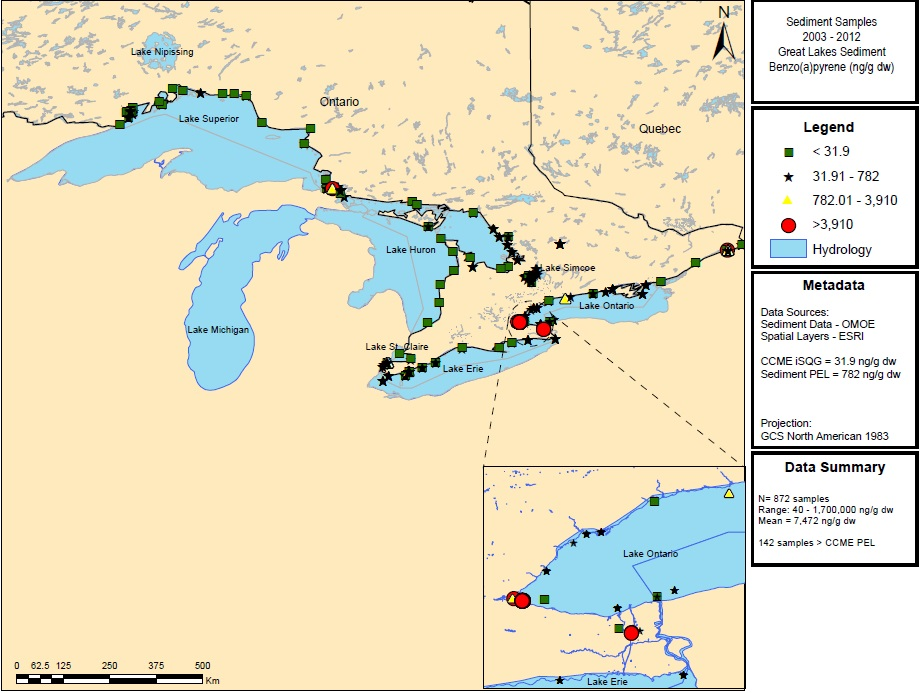 Figure 1: This figure shows the concentrations of Benzo(a)pyrene in nanograms per gram (ng/g) in sediment samples in Lake Superior, Lake Huron, Lake Ontario and Lake Erie from 2003 to 2012.  Elevated concentrations of greater than 3,910 ng/g d.w. are indicated by red circles in Lake Superior and Lake Ontario.