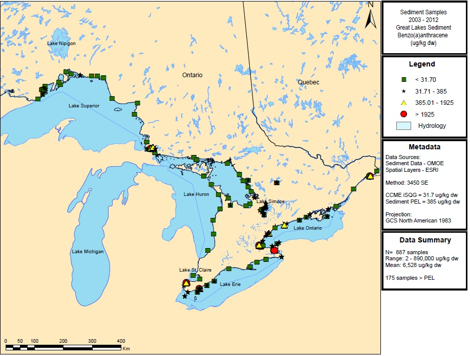 Figure 16: This figure shows the concentrations of benzo(a)anthracene in micrograms per kilogram dry weight in sediment samples in Lake Superior, Lake Huron, Lake Ontario and Lake Erie from 2003 to 2012.  Elevated concentrations of greater than 1,925 micrograms per kilogram dry weight are indicated by red circles in Lake Superior, Lake Erie and Lake Ontario.
