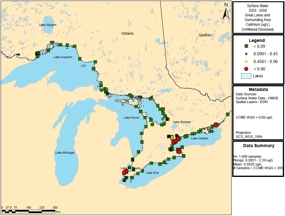 Figure 11: This figure shows the concentrations of cadmium in micrograms per litre in water samples in Lake Superior, Lake Huron, Lake Ontario and Lake Erie from 2003 to 2008. Elevated concentrations of greater than 0.90 ug/L are indicated by red circles in Lakes Erie and Ontario.