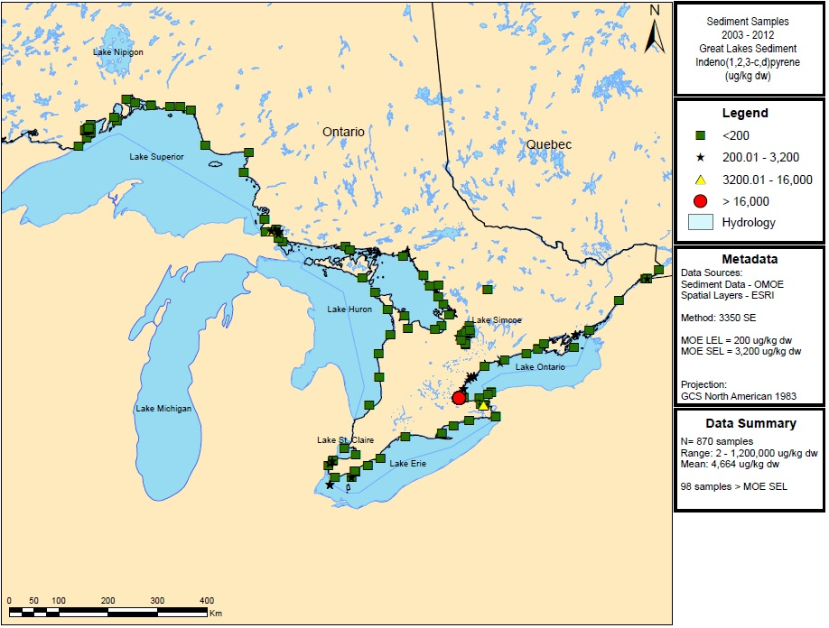 Figure 19: This figure shows the concentrations of indeno(1,2,3-c,d)pyrene in micrograms per kilogram dry weight in sediment samples in Lake Superior, Lake Huron, Lake Ontario and Lake Erie from 2003 to 2012.  Elevated concentrations of greater than 16,000 micrograms per kilogram dry weight are indicated by red circles in Lake Ontario.