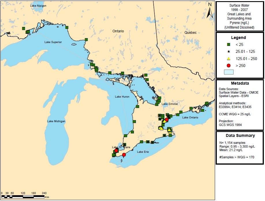 Figure 15: This figure shows the concentrations of pyrene in nanograms per litre in water samples in Lake Superior, Lake Huron, Lake Ontario and Lake Erie from 1998 to 2007. Elevated concentrations of greater than 250 nanograms per litre are indicated by red circles in Lakes Erie and Ontario.